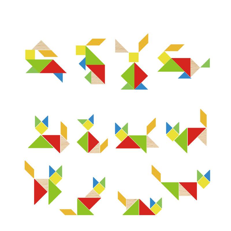 木玩世家七巧板拼图 儿童拼图木质玩具3 6岁 七巧板益智拼图