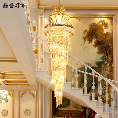欧式水晶大吊灯复式楼客厅灯酒店别墅旋转楼梯图片