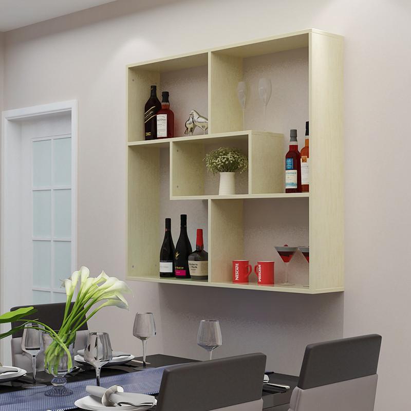 臻璐 创意客厅餐厅墙上置物架装饰壁挂式酒架柜隔板博古书架吊柜墙壁