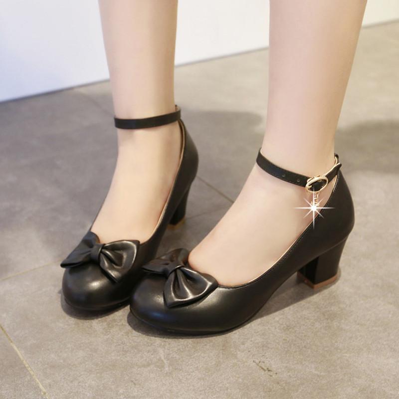 32-33码大儿童高跟鞋中小学生秋款带跟公主鞋小女孩单