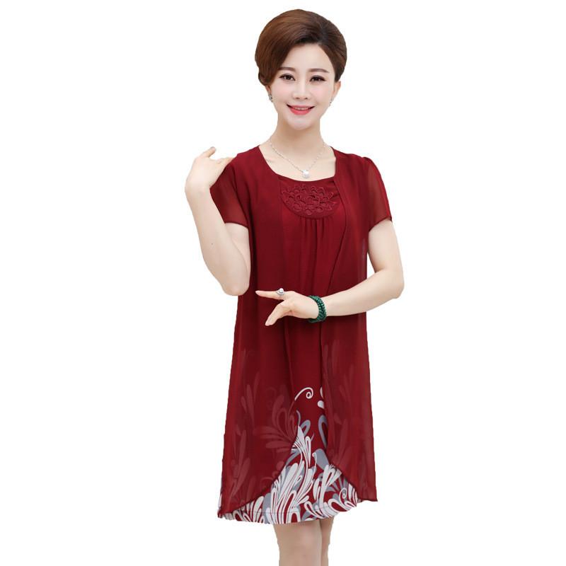中老年女装夏装连衣裙40-50-60岁中年妈妈装中