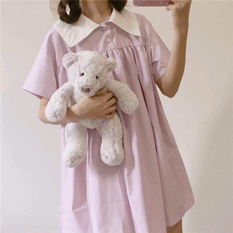 少女心可爱chic娃娃裙夏韩国ulzzang原宿风宽松软妹学院风连衣裙