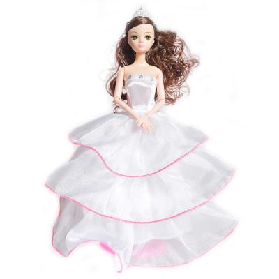 雅丽思 芭比娃娃玩具礼服公主裙洋娃娃女孩玩具 粉边白裙子