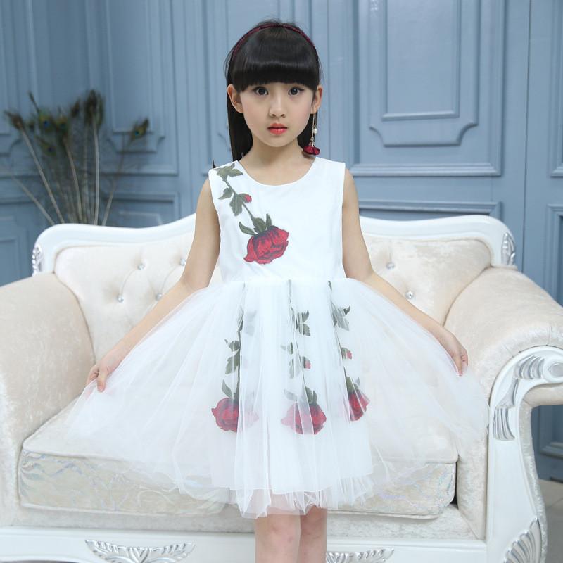 萌宝童尚童装蕾丝连衣裙女童夏季新款花朵背心礼服裙欧美纯色儿童公主