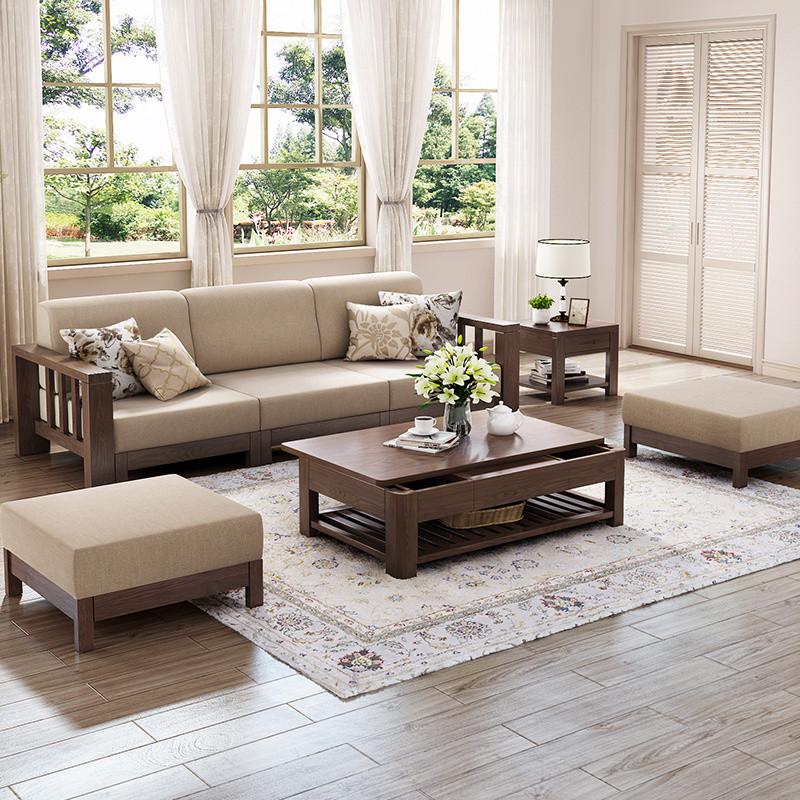 米莱克 现代中式客厅木质沙发 实木沙发客厅组合家具
