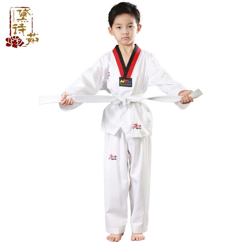 运动户外 纯棉长袖跆拳道服 儿童跆拳道道服训练服男女款道衣服装