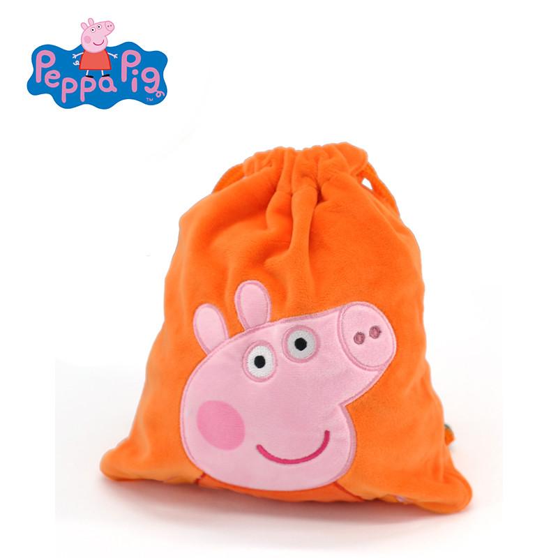 正版佩奇乔治粉红猪小妹佩佩猪男女儿童零钱包束口袋零食包玩具包