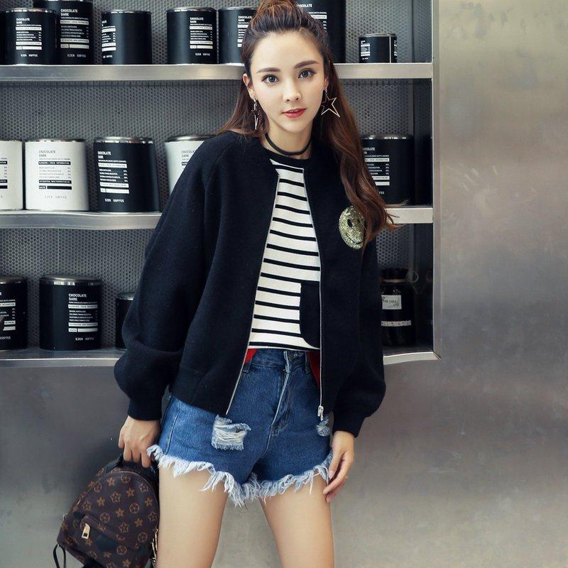珍真羊 秋装新款棒球服毛衣外套外搭针织衫开衫短外套时尚女装潮