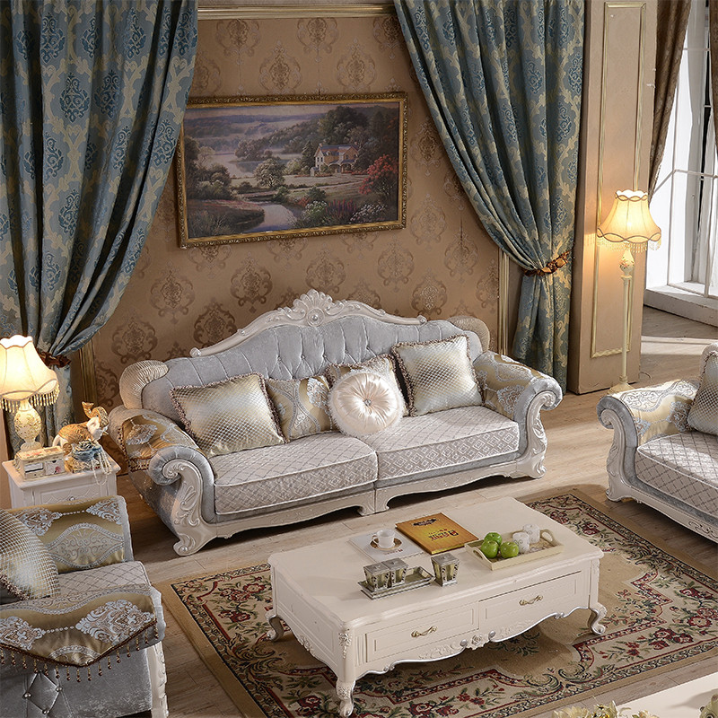 卡梵纳 欧式布艺沙发组合 转角大小户型客厅简欧沙发 田园u型沙发