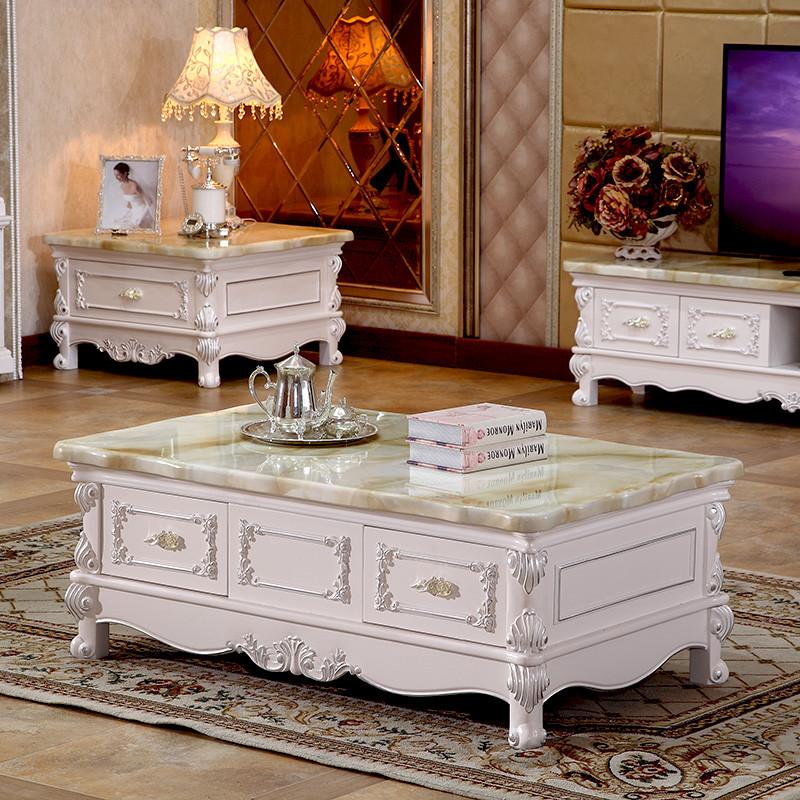 卡梵纳 欧式大理石电视柜组合简约现代简欧茶几客厅家具地柜法式茶几图片