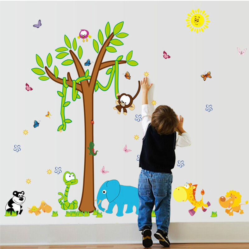 吉朵芸卡通动物树动物乐园墙贴儿童房装饰画幼儿园教室贴画环康防水