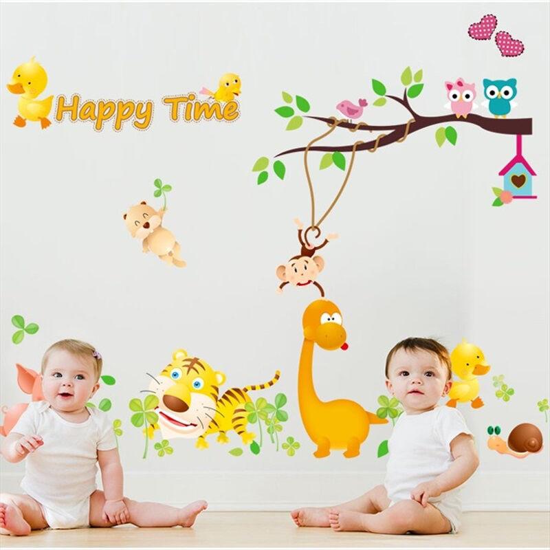 吉朵芸可移除墙贴纸墙纸贴画m动物乐园儿童房幼儿园装饰卡通温馨卧室