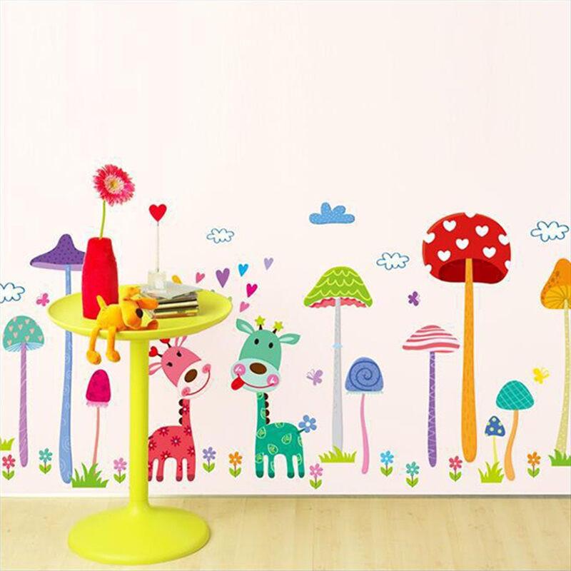 房贴画卡通动物墙贴环保pvc防水墙贴可移除幼儿园装饰贴纸蘑菇森林贴