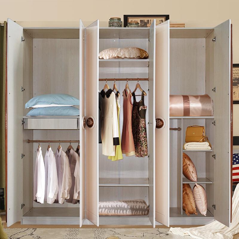 简约现代板式对开门大衣柜组合 卧室整体六门衣柜衣橱