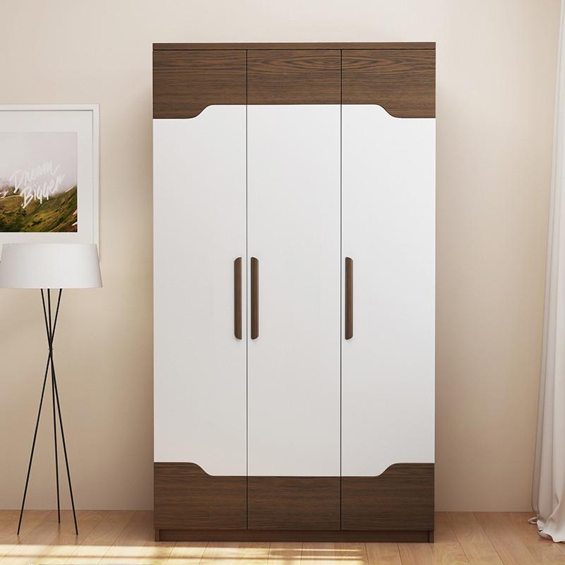 木月 家具 北歐簡約衣柜組合三門四門平開門衣柜 時尚