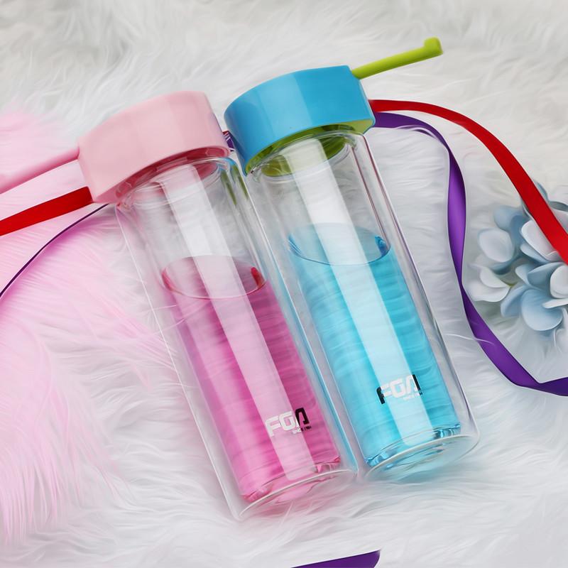 富光玻璃杯 双层创意带盖男女可爱学生水杯 便携耐热带提绳