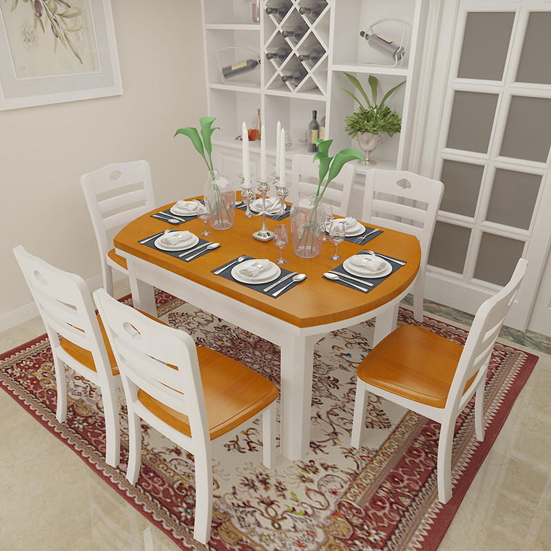 折叠餐桌圆形饭桌子伸缩多功能小户型餐桌台套装地中海餐桌长方形简易