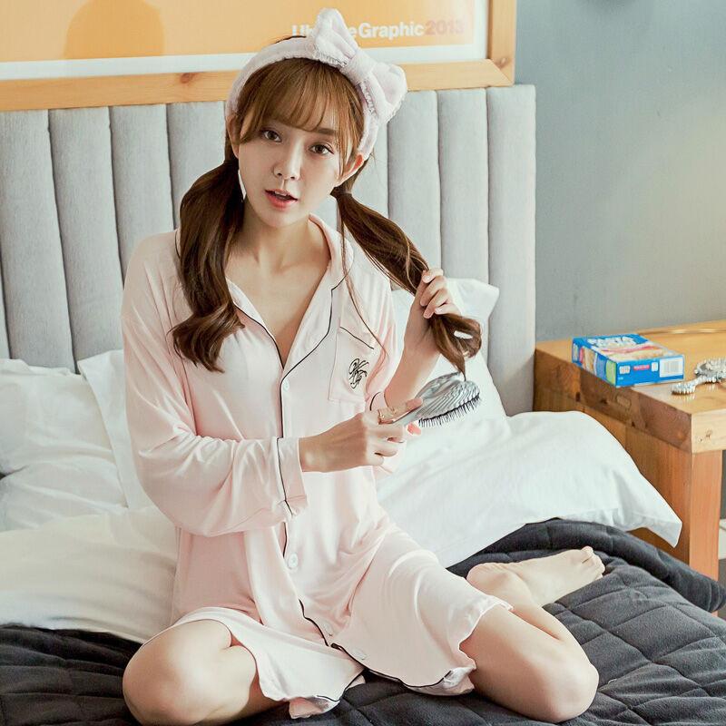 春秋季衬衫睡衣女长袖韩版宽松牛奶丝性感甜美可爱公主睡裙夏天x