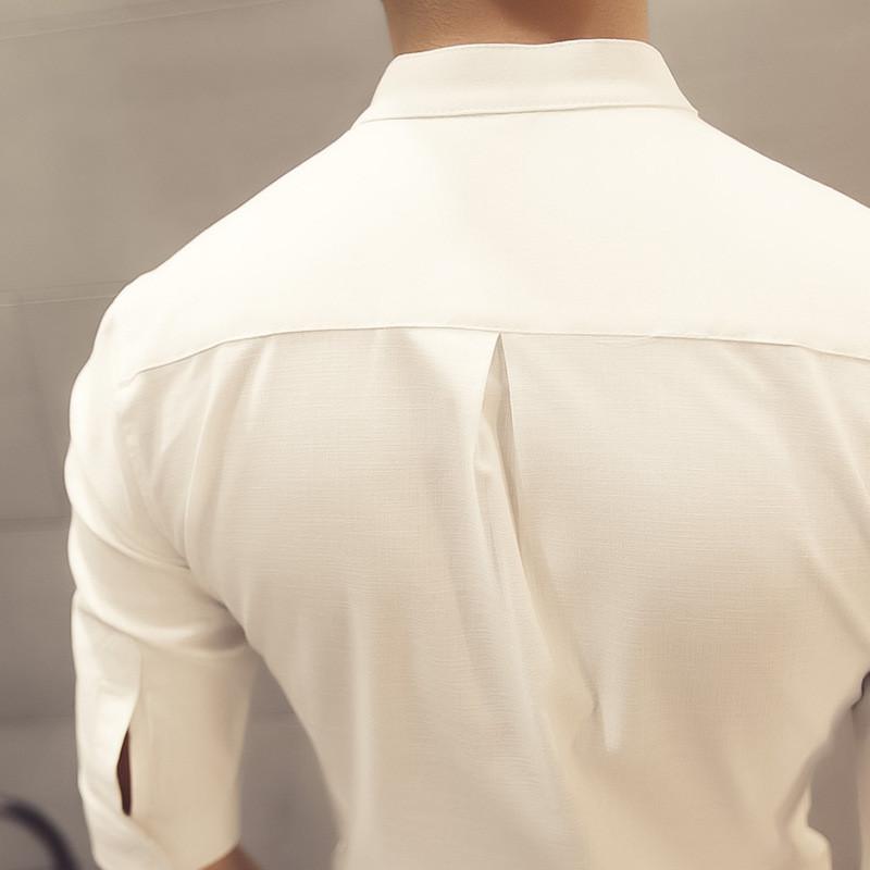 骑士普丁发型师时尚服装男士七分袖夜店韩版修身衬衫潮男短袖寸衫中袖