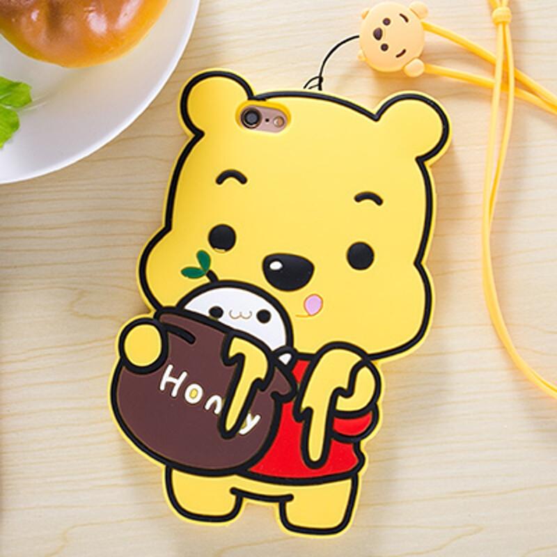 聆听可爱小熊苹果6s手机壳硅胶全包iphone6/plus全包挂绳软壳女潮6/6s