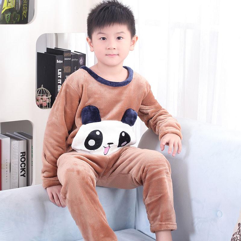迪日法兰绒棕熊睡衣套装长袖冬季小孩可爱家居服szsy2444