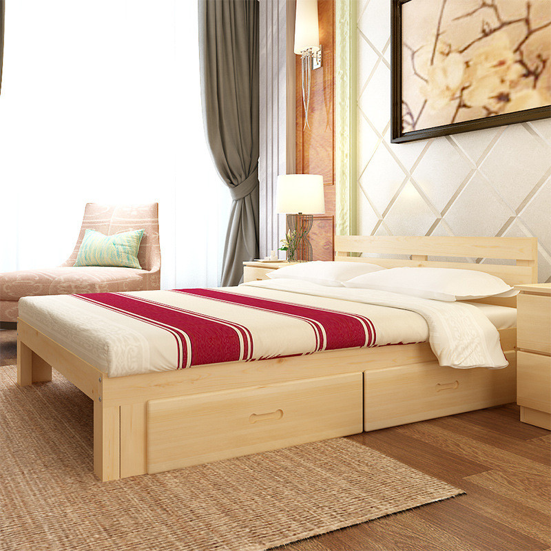 实木双人床1.5 1.8 松木床单人床1.2 简约成人实木床特价