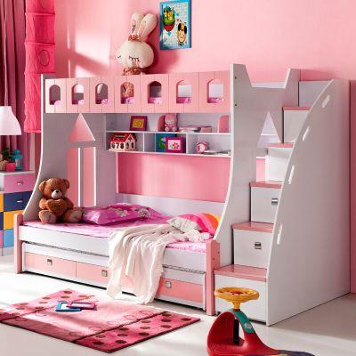 双层儿童上下床带梯柜子母高低床 儿童男孩女孩房家具
