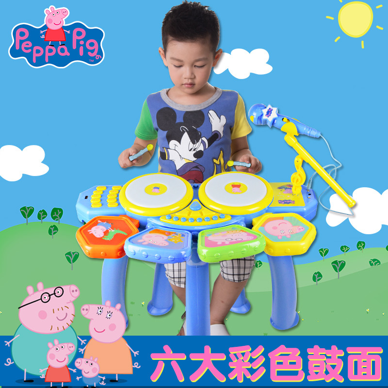 智恩堡 小猪佩奇架子鼓儿童初学者乐器3手拍敲打爵士鼓6岁佩琪玩具节