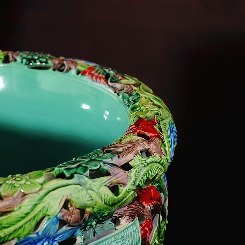 景德镇陶瓷器 鱼缸摆件装饰品 手工雕刻双层镂空鱼缸