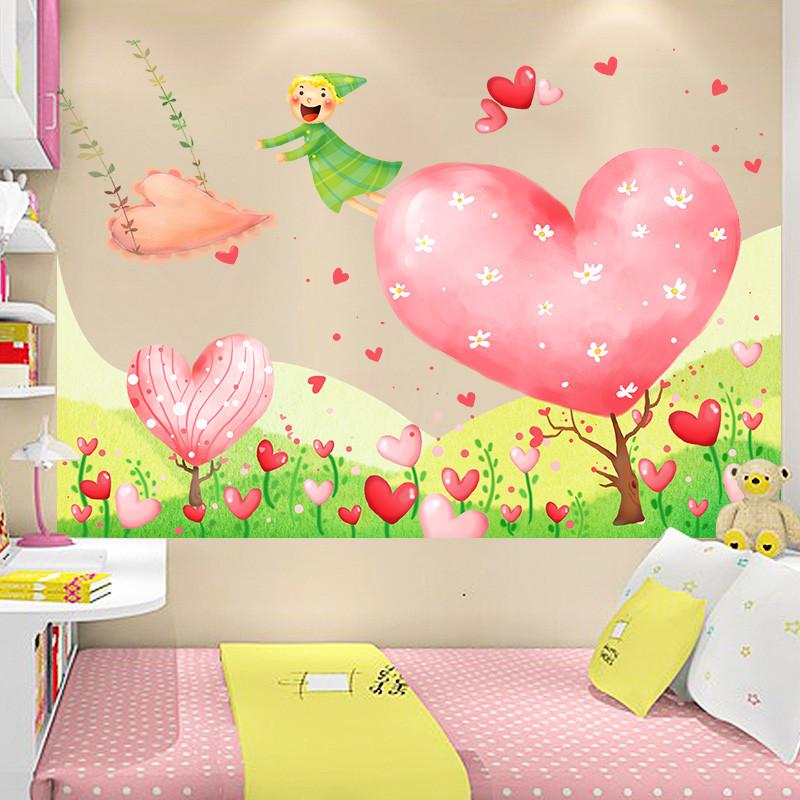 卡通爱心树墙贴 教室幼儿园布置创意贴画儿童房间床头