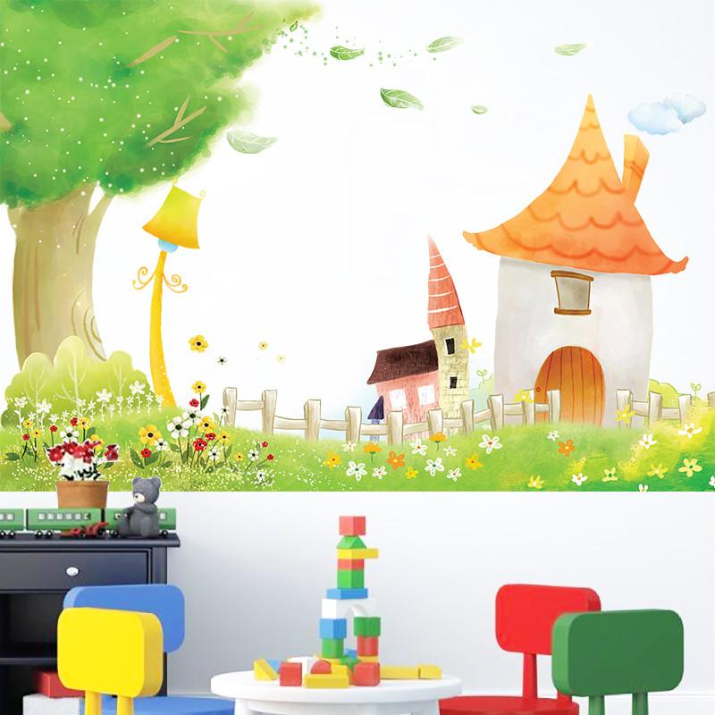 卡通儿童森林小屋墙贴 幼儿园创意班级装饰贴纸宝宝房间布置 防水可移