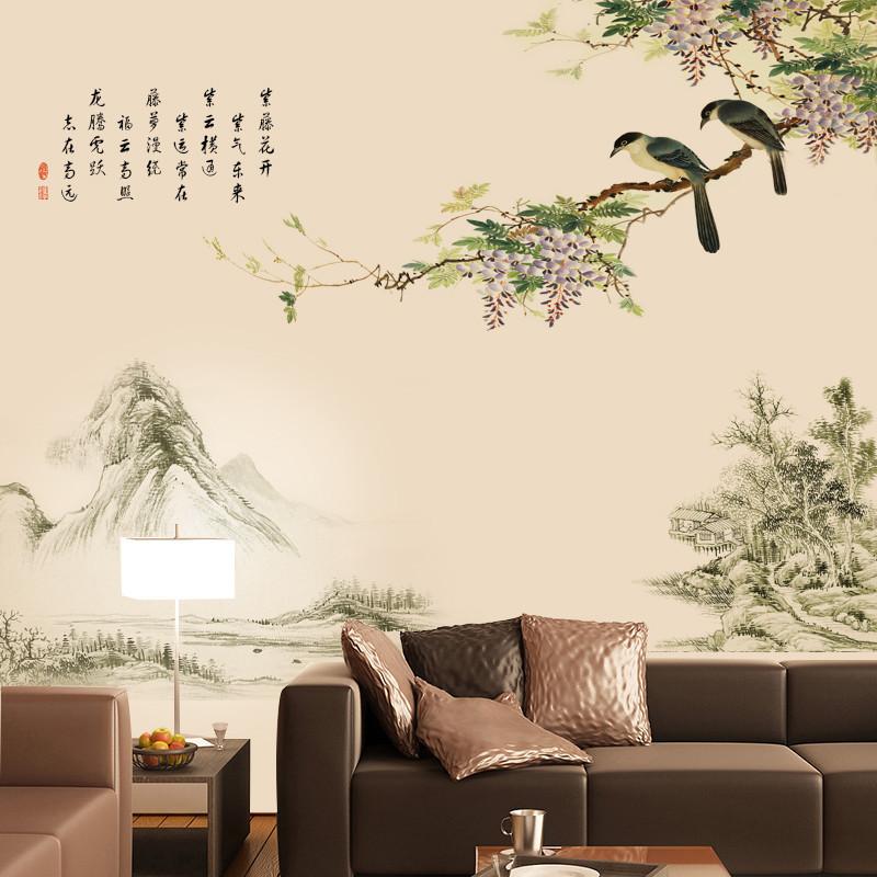 中国风喜鹊山水画墙贴画客厅沙发墙上装饰电视背景墙贴壁纸自粘