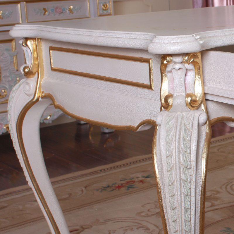 fp家居简约欧式实木家具法式彩绘手工雕刻书房书桌台