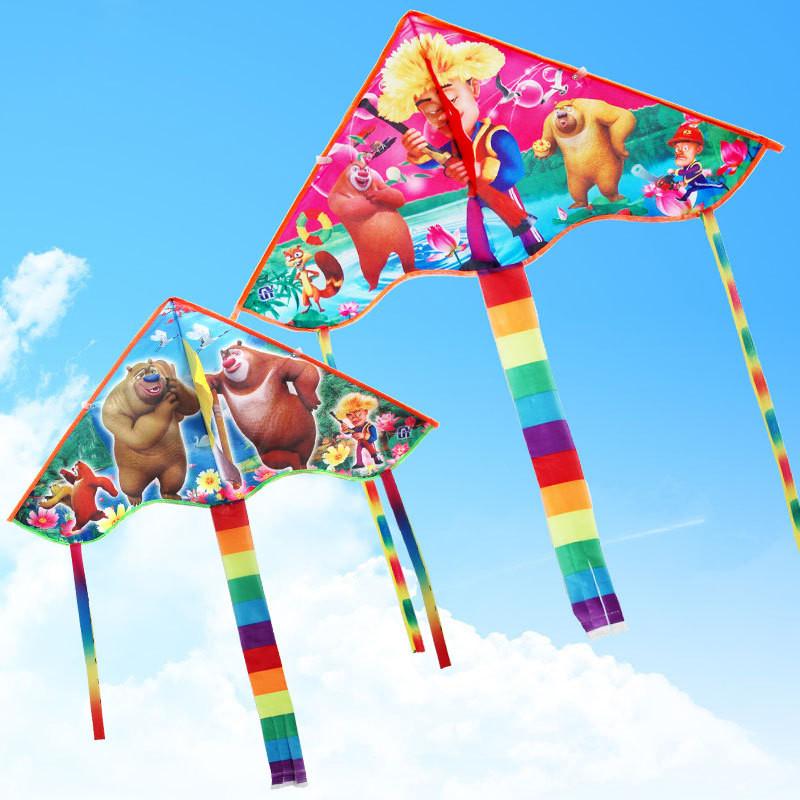 风筝 儿童卡通风筝 小弯边风筝 多款图案 彩虹尾风筝