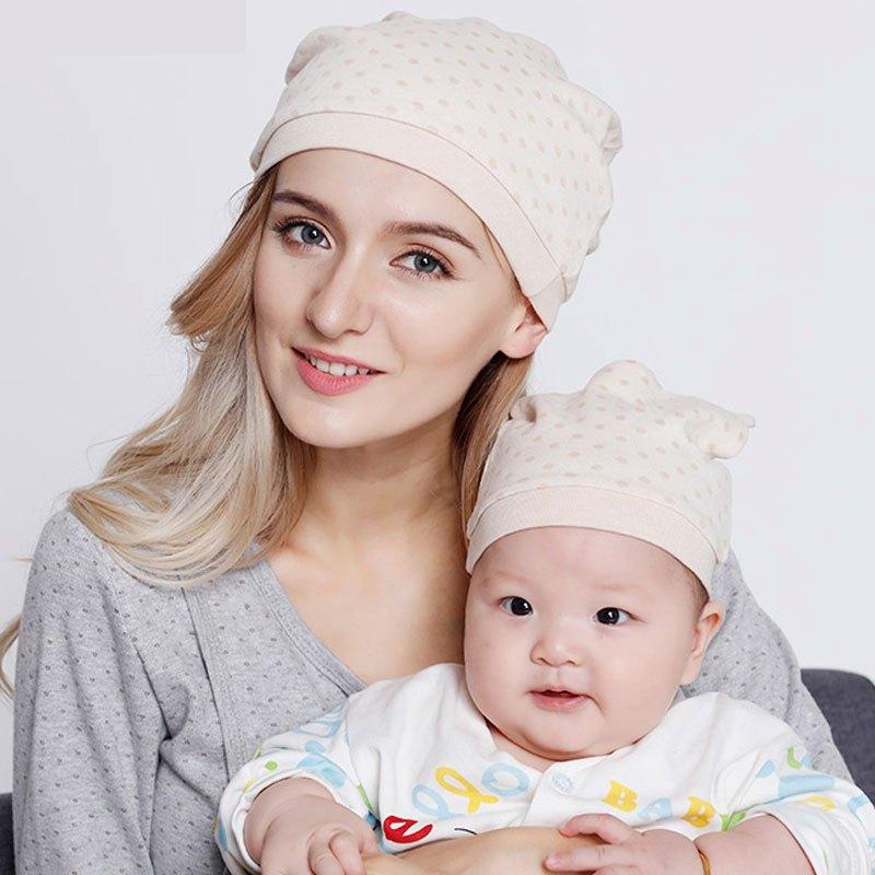 (月子帽 婴儿帽)2件套2017新款可爱卡通圆点印花亲子帽产妇帽春秋冬季