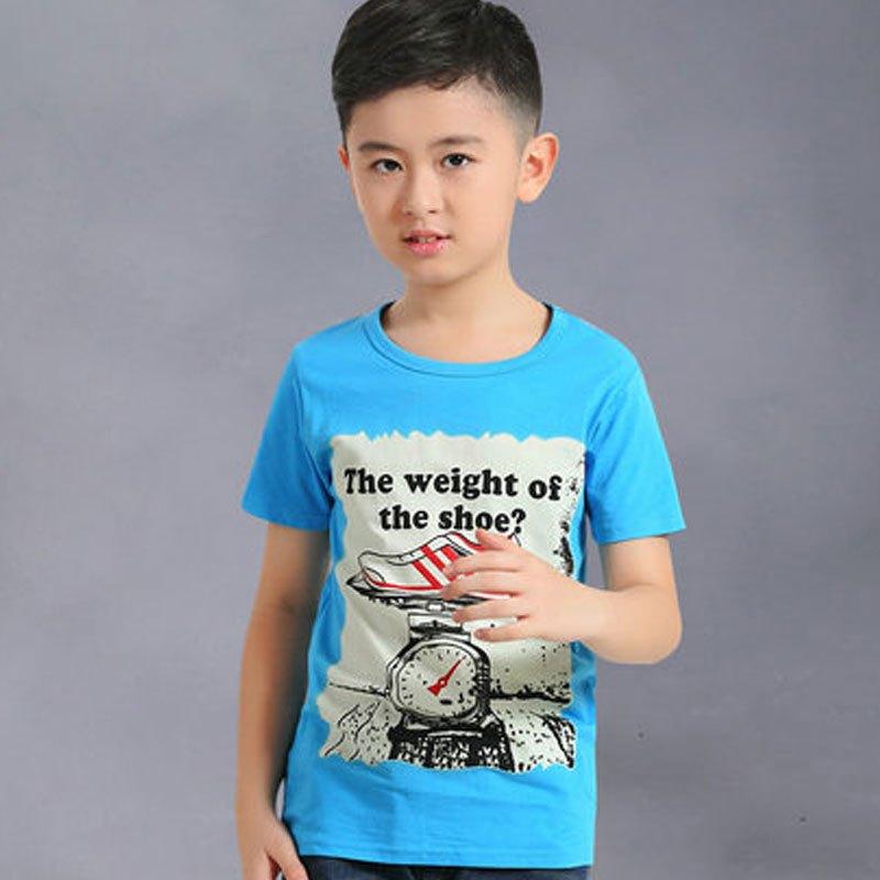 休闲圆领体恤衫中大童上衣小男孩子可爱潮t恤短袖简约休闲小清新t恤