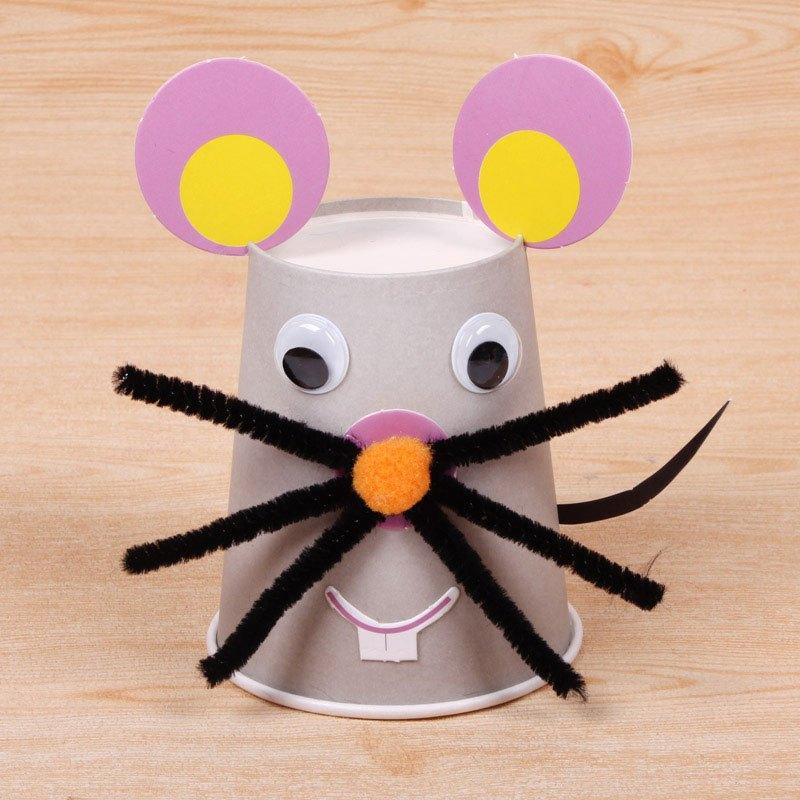 十二生肖彩色纸杯贴画 宝宝儿童幼儿园创意益智手工diy制作材料包当季