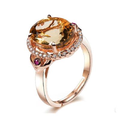 帛蘭梓韻 天然水晶戒指3.61克拉巴西黃水晶指環活口戒指時尚女款結婚水晶戒指