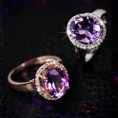 帛兰梓韵 天然水晶紫水晶戒指时尚百搭女款水晶指环简约款彩色宝石结婚戒指送闺蜜