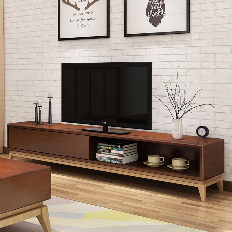 马氏皇庭北欧实木电视柜 小户型客厅简约现代带抽储物