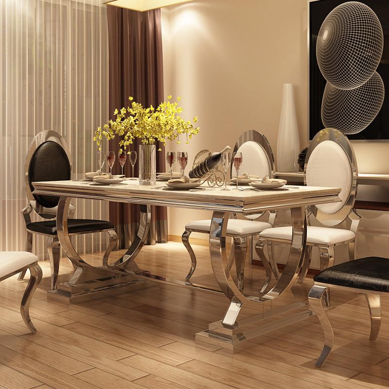 马氏皇庭简约现代不锈钢餐桌欧式小户型创意餐桌大理石餐桌椅组合