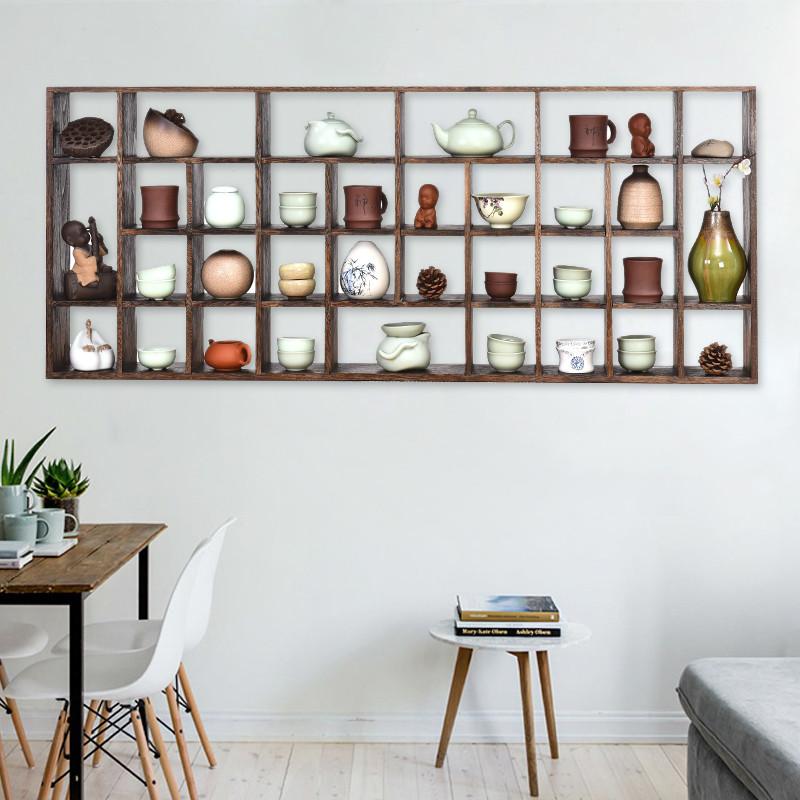 日式实木茶杯架收纳博古架置物架挂墙紫砂茶壶茶具展示柜壁挂式多宝阁图片