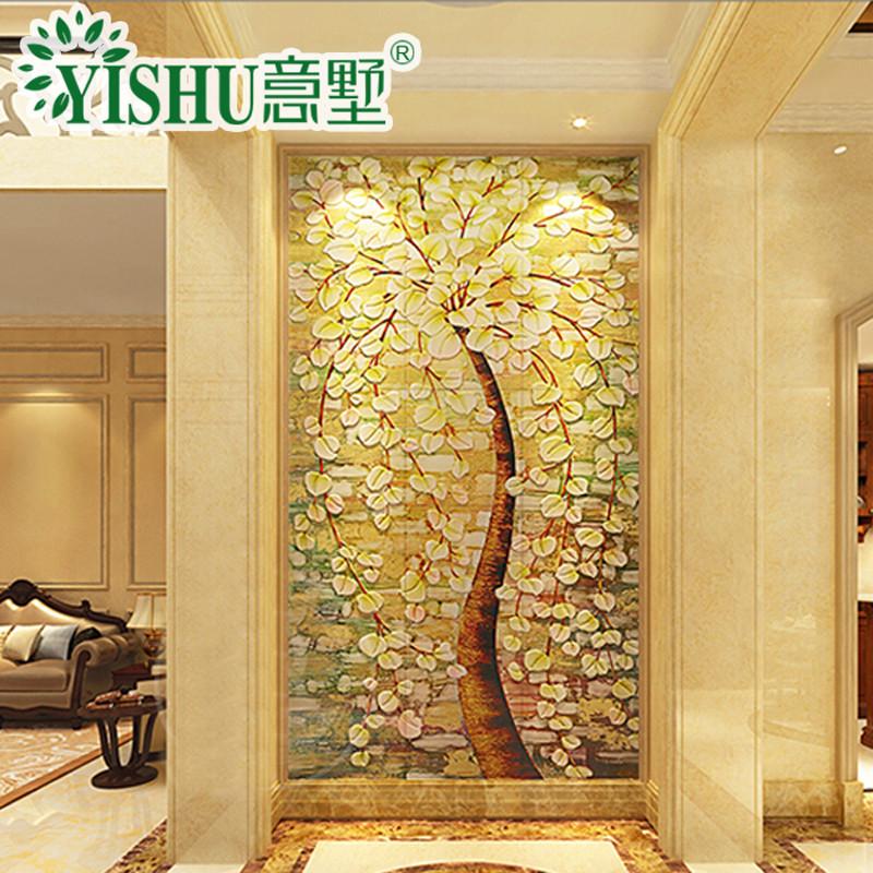 意墅 瓷砖背景墙发财树3d微晶石雕刻客厅壁画过道玄关