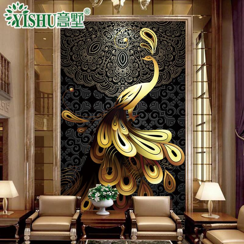 意墅 玄关背景墙微晶石瓷砖背景墙3d浮雕刻镶金客厅中式电视墙复式