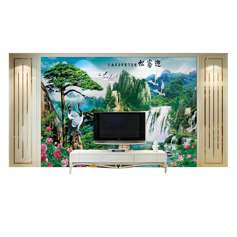 意墅 瓷砖背景墙3d高温微晶石背景墙瓷砖新中式山水风水国画全屋定制