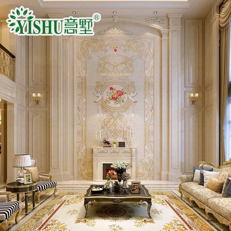 意墅 瓷砖背景墙3d微晶石客厅电视墙复式欧式自然风景