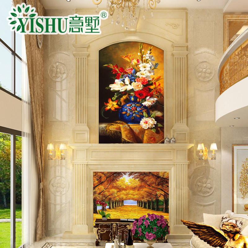 意墅 复式背景墙石材罗马柱边框造型3d高温微晶石电视墙瓷砖中式玉雕