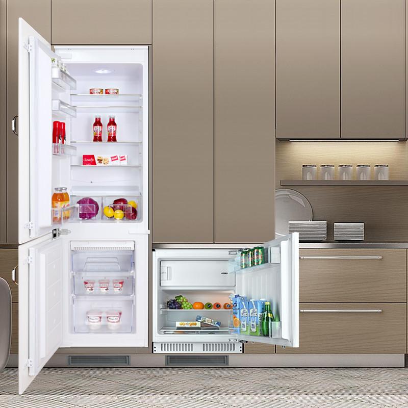 一大一小冰箱组合整体厨房橱柜内嵌式家用隐藏式超薄冰箱