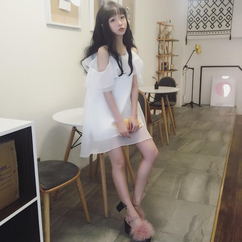 20172017夏季新款女装韩版学生软妹裙子欧根纱荷叶边露肩吊带连衣裙春