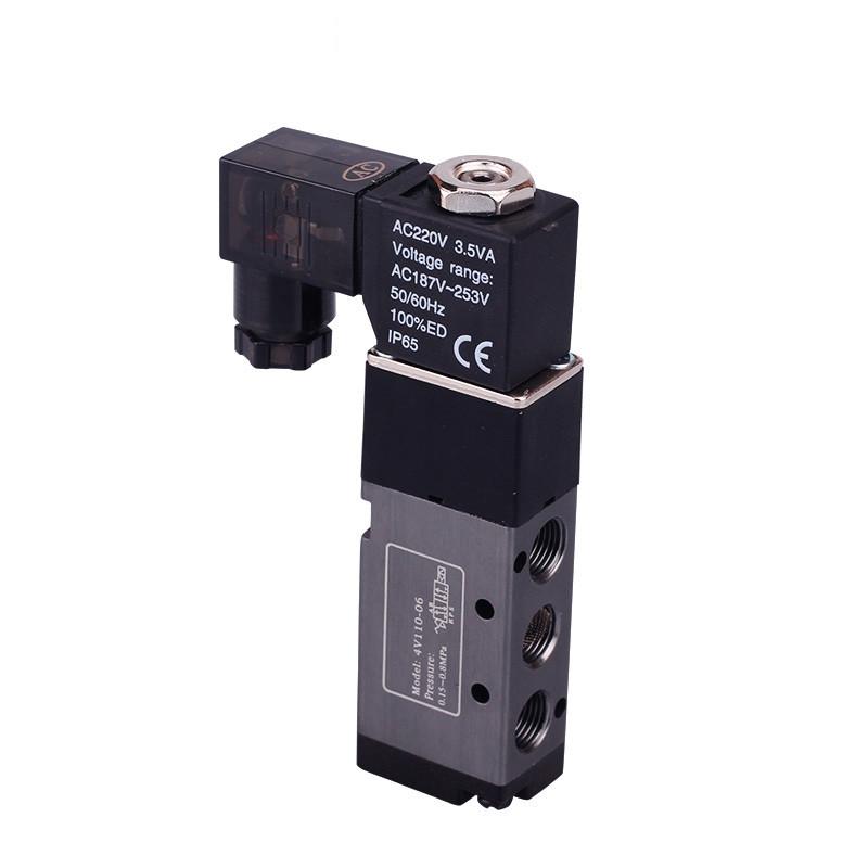 电磁阀4v110-06 dc24v 220v二位五通电磁换向阀气阀带图片
